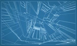 Abstract 3D rendering of building wireframe structure. Vector. Abstract 3D render of building wireframe structure. Vector construction graphic idea for template vector illustration