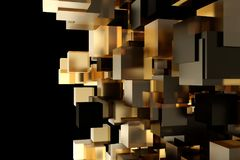 Abstract 3d rendering of chaotic cubes. Cubes in empty space. Futuristic background. Abstract 3d rendering of chaotic cubes. Cubes in empty space. Futuristic Stock Images