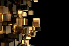 Abstract 3d rendering of chaotic cubes. Cubes in empty space. Futuristic background. Abstract 3d rendering of chaotic cubes. Cubes in empty space. Futuristic Stock Photography