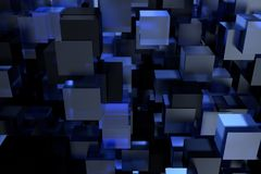 Abstract 3d rendering of chaotic cubes. Cubes in empty space. Futuristic background.  stock illustration