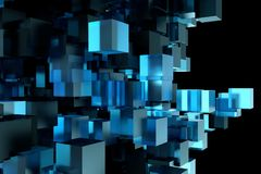 Abstract 3d rendering of chaotic cubes. Flying shapes in empty space. Dynamic background. Abstract 3d rendering of chaotic cubes. Flying shapes in empty space Stock Photos