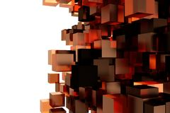 Abstract 3d rendering of chaotic cubes. Flying shapes in empty space. Dynamic background. Abstract 3d rendering of chaotic cubes. Flying shapes in empty space Royalty Free Stock Photo