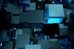 Abstract 3d rendering of chaotic cubes. Flying shapes in empty space. Futuristic background. Abstract 3d rendering of chaotic cubes. Flying shapes in empty vector illustration