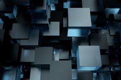 Abstract 3d rendering of chaotic cubes. Flying shapes in empty space. Futuristic background. Abstract 3d rendering of chaotic cubes. Flying shapes in empty Royalty Free Stock Images