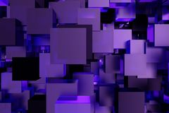 Abstract 3d rendering of chaotic cubes. Flying shapes in empty space. Futuristic background. Abstract 3d rendering of chaotic cubes. Flying shapes in empty Royalty Free Stock Photo
