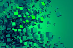 Abstract 3D Rendering of Chaotic Cubes Stock Images