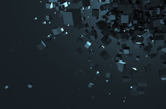 Abstract 3D Rendering of Chaotic Cubes Royalty Free Stock Image