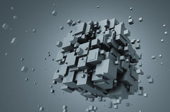Abstract 3D Rendering of Chaotic Cubes Stock Photography