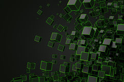 Abstract 3D Rendering of Chaotic Cubes Royalty Free Stock Images