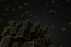 Abstract 3D Rendering of Chaotic Cubes. Abstract 3d rendering of chaotic particles. Poster with random cubes in empty space. Futuristic background Stock Image