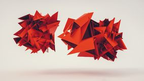 Abstract 3d rendering of chaotic Flying red polygonal triangles. 3D abstract red chaotic Flying polygonal triangle balls. ideal for websites and magazines royalty free illustration