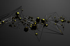 Abstract 3d rendering of chaotic metal structure. Dark background with chrome lines and gold low poly spheres in empty space. Futuristic steel shape Stock Illustration