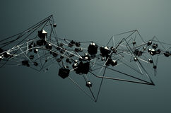 Abstract 3D Rendering of Chaotic Metal Structure Royalty Free Stock Photos