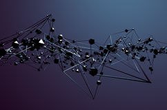 Abstract 3D Rendering of Chaotic Metal Structure Stock Photography