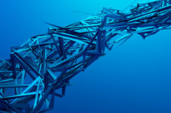 Abstract 3D Rendering of Chaotic Structure. Blue background with futuristic shape in empty space stock illustration