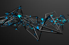 Abstract 3D Rendering of Chaotic Structure. Dark background with futuristic shape in empty space Royalty Free Stock Images