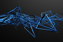 Abstract 3D Rendering of Chaotic Structure. Dark background with futuristic shape in empty space royalty free illustration