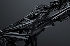 Abstract 3D Rendering of Chaotic Structure. Dark background with futuristic shape in empty space stock illustration