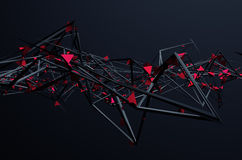 Abstract 3D Rendering of Chaotic Structure. Dark background with futuristic shape in empty space vector illustration