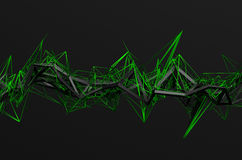 Abstract 3D Rendering of Chaotic Structure. Dark background with futuristic shape in empty space Stock Photography