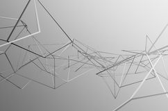Abstract 3d rendering of chaotic structure. Light background with lines in empty space. Futuristic shape Royalty Free Stock Photo