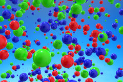 Abstract 3d rendering of colorful balls in sky. Landscape exterior royalty free illustration