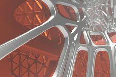 Abstract 3d rendering concept of high poly architecture with steel and glass, chaotic mesh grid cellular mulecular. Structure. Sci-fi background with polygonal vector illustration
