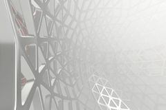 Abstract 3d rendering concept of high poly architecture with steel and glass, chaotic mesh grid cellular mulecular. Structure. Sci-fi background with polygonal stock illustration