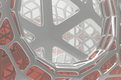 Abstract 3d rendering concept of high poly architecture with steel and glass, chaotic mesh grid cellular mulecular. Structure. Sci-fi background with polygonal royalty free illustration