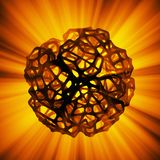 Abstract 3d rendering concept of high poly sphere with chaotic mesh grid cellular mulecular structure. Sci-fi background. With polygonal shape in empty space royalty free illustration