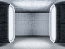 Abstract 3d concrete room. Abstract 3d rendering concrete room with huge lateral lights Royalty Free Stock Photo