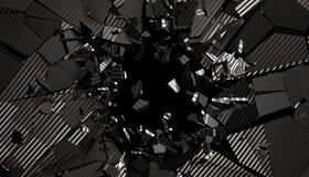 Abstract 3D Rendering of Cracked Surface. Modern background design, wall destruction stock illustration