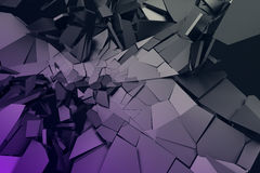 Abstract 3D Rendering of Cracked Surface. Background with broken shape. Wall destruction. Bursting with debris. Modern cgi illustration. Design for poster Royalty Free Stock Image