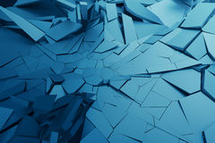 Abstract 3D Rendering of Cracked Surface. Background with broken shape. Wall destruction. Bursting with debris. Modern cgi illustration. Design for poster Royalty Free Stock Images