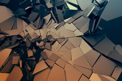 Abstract 3D Rendering of Cracked Surface. Background with broken shape. Wall destruction. Bursting with debris. Modern cgi illustration. Design for poster Royalty Free Stock Photography
