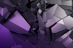 Abstract 3D Rendering of Cracked Surface. Background with broken shape. Wall destruction. Bursting with debris. Modern cgi illustration. Design for poster Stock Images