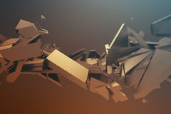 Abstract 3D Rendering of Cracked Surface. Background with broken shape. Wall destruction. Bursting with debris. Modern cgi illustration. Design for poster Royalty Free Stock Photos