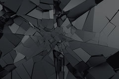 Abstract 3D Rendering of Cracked Surface. Background with broken shape. Wall destruction. Bursting with debris. Modern cgi illustration. Design for poster Royalty Free Stock Photo