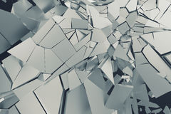 Abstract 3D Rendering of Cracked Surface. Background with broken shape. Wall destruction. Bursting with debris. Modern cgi illustration. Design for poster Stock Image