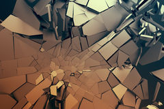 Abstract 3D Rendering of Cracked Surface. Background with broken shape. Wall destruction. Bursting with debris. Modern cgi illustration. Design for poster Stock Photography