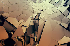 Abstract 3D Rendering of Cracked Surface. Background with broken shape. Wall destruction. Bursting with debris. Modern cgi illustration. Design for poster Stock Photo