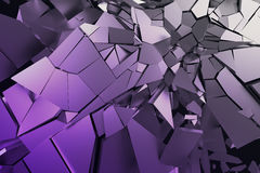 Abstract 3D Rendering of Cracked Surface. Background with broken shape. Wall destruction. Bursting with debris. Modern cgi illustration. Design for poster Stock Photos