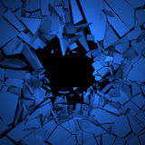 Abstract 3D Rendering of Cracked Surface. Background with broken shape. Wall destruction. Explosion with debris Royalty Free Stock Photo