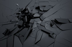 Abstract 3D Rendering of Cracked Surface. Background with broken shape. Wall destruction. Explosion with debris Stock Photography