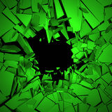 Abstract 3D Rendering of Cracked Surface. Background with broken shape. Wall destruction. Explosion with debris Stock Photos