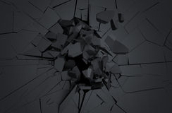 Abstract 3D Rendering of Cracked Surface. Background with broken shape. Wall destruction. Explosion with debris Stock Images