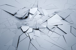 Abstract 3D Rendering of Cracked Surface. Background with broken shape. Wall destruction. Explosion with debris Royalty Free Stock Photos