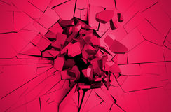 Abstract 3D Rendering of Cracked Surface. Background with broken shape. Wall destruction. Explosion with debris Royalty Free Stock Image