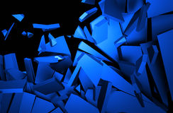 Abstract 3D Rendering of Cracked Surface. Background with broken shape. Wall destruction. Explosion with debris Stock Photo