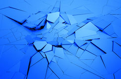 Abstract 3D Rendering of Cracked Surface. Background with broken shape. Wall destruction. Explosion with debris Royalty Free Stock Images
